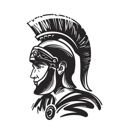 Rzymski żołnierz-centurion. Nakreślenie wektorowa ilustracja odizolowywająca na białym tle Ilustracje wektorowe