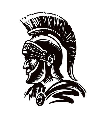 Guerrier spartiate, gladiateur ou soldat romain. Illustration vectorielle isolé sur fond blanc