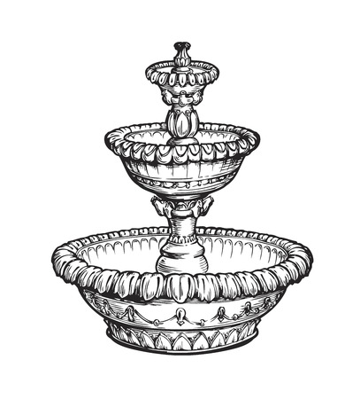 bowls: Vintage fountain. Sketch vector illustration isolated on white background
