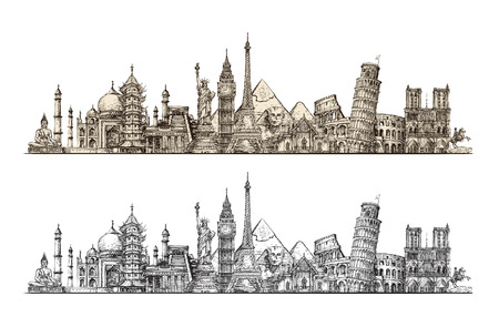 Travel. Famous monuments of world. Sketch vector illustration isolated on white background