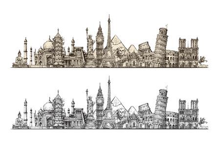 Reizen. Beroemde monumenten van de wereld. Schets vector illustratie geïsoleerd op een witte achtergrond Vector Illustratie