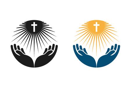 Religione logo vettoriale. Chiesa, prega o icona Bibbia isolato su sfondo bianco