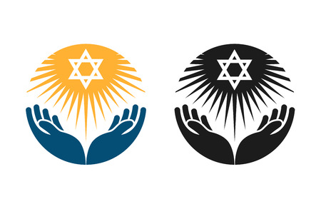 chanukkah: Judaism vector logo. Star of David or Religion icon isolated on white background