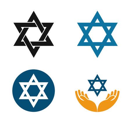 simbolos religiosos: Estrella de David vector logo. Judaísmo o conjunto judía iconos aislados sobre fondo blanco