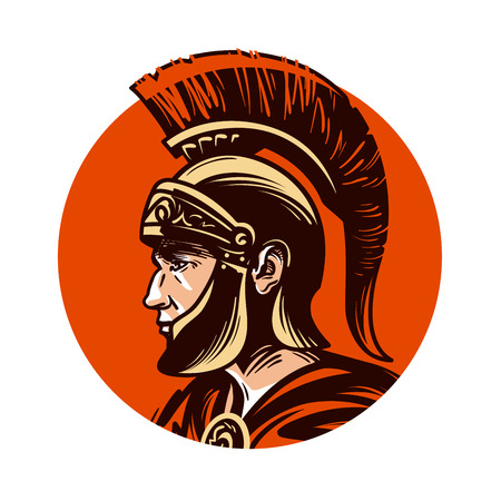conquest: Ancient warrior in helmet symbol. Vector illustration isolated on white background Illustration