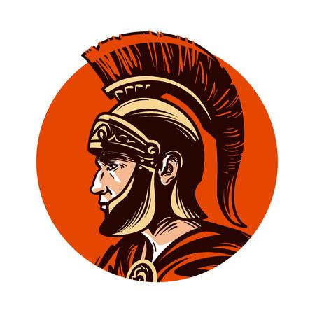 Ancient warrior in helmet symbol. Vector illustration isolated on white background Illustration