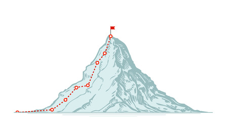 Mountain climbing route. Business vector illustration isolated on white background