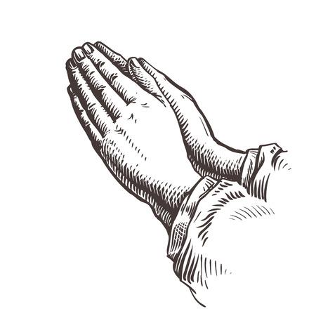 religion catolica: Las manos juntas en oración. ilustración Esquema del vector aislado en el fondo blanco Foto de archivo