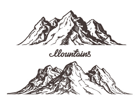 Mountains sketch. Hand drawn vector illustration isolated on white background