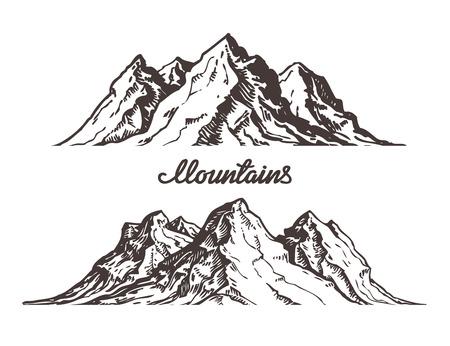 山々 をスケッチします。白い背景で隔離の手描きベクトル図