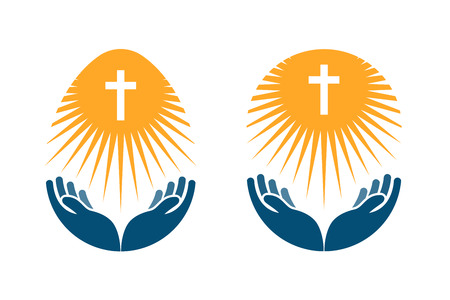 orthodoxy: Religion vector logo. Church, Pray or Bible icon isolated on white background
