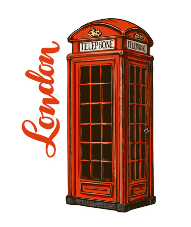 antique booth: London phone booth. Vector illustration isolated on white background Illustration