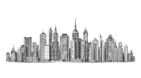 City. Architectural modern buildings in panoramic view. Sketch vector illustration isolated on white background