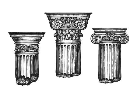 Hand getrokken set architectonische klassieke orders. Schets vector illustratie geïsoleerd op een witte achtergrond