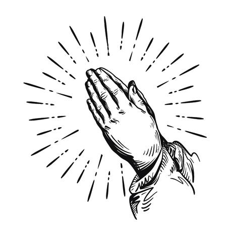 homily: Prayer. Praying hands. Vector illustration isolated on white background