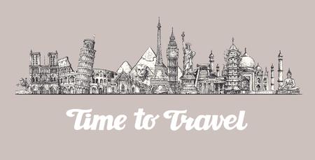 Viaje, viaje. En todo el mundo, Lugares de interés de los países ilustración vectorial