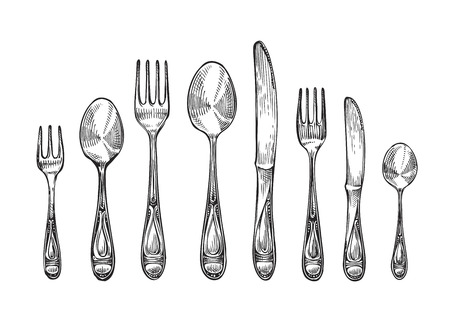 dining set: Cutlery set spoons, forks and knifes, top view. Sketch vector illustration isolated on white background