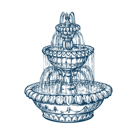 Beautiful outdoor marble fountain. Sketch vintage vector illustration isolated on white background Vectores