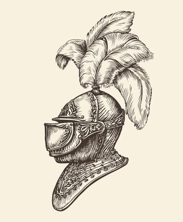 Średniowieczny hełm rycerza. Archiwalne szkic ilustracji wektorowych Ilustracje wektorowe