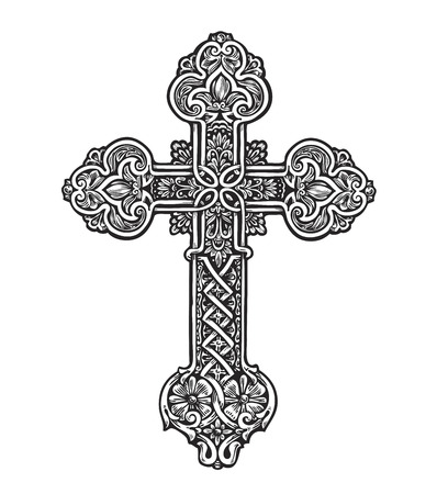 Beautiful ornate cross. Sketch vector illustration isolated on white background Vettoriali