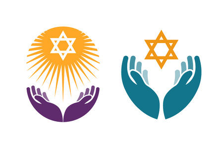 Hands holding Star of David. Icon or symbol vector isolated on white background Çizim