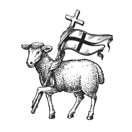 크로스 양고기. 종교 기호. 흰색 배경에 고립 된 스케치 벡터 일러스트 레이 션