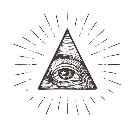 Tout symbole de l'oeil voyant. Vector illustration isolé sur fond blanc