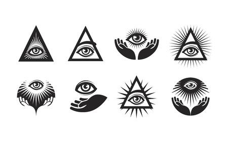sociedade: Todos os ícones Vendo o olho definido. símbolo dos Illuminati isolado no fundo branco