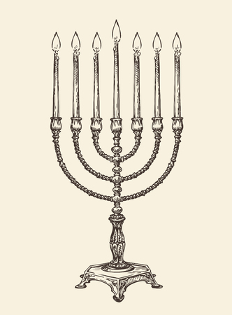 Hanukkah menorah. Hand drawn vintage sketch vector