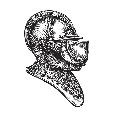 Knight helmet sketch. Vector illustration isolated on white background 向量圖像