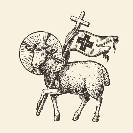 Lamb or sheep holding cross. Religious symbol. Sketch Stockfoto