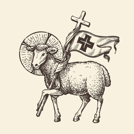 Lamb or sheep holding cross. Religious symbol. Sketch Stok Fotoğraf