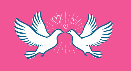 White dove flying. Wedding, love symbol. Valentine day banner Illustration