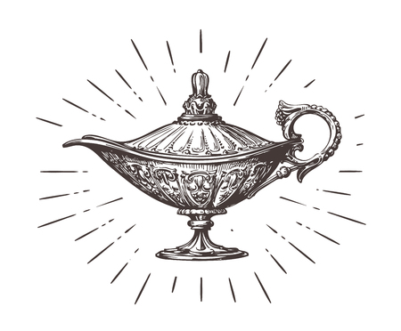 lamp: Aladdin magic or genie lamp. Vintage sketch vector illustration isolated on white background