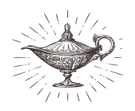 mágica de Aladdin o genio de la lámpara. ilustración vectorial boceto de la vendimia aislado en el fondo blanco Ilustración de vector