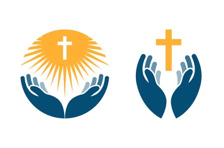 Manos que sostienen la Cruz, iconos o símbolos. La religión, la Iglesia vector de la insignia aislada en el fondo blanco Ilustración de vector