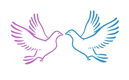 White Doves as concept Love or Peace. Abstract vector illustration isolated on white background