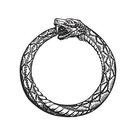 Ouroboros. Wąż jedzenia własnego ogona. Wieczność i nieskończoność symbolu samodzielnie na białym tle Ilustracje wektorowe