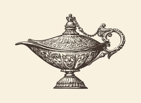archaeology: Oil lamp sketch. Hand drawn vintage vector illustration
