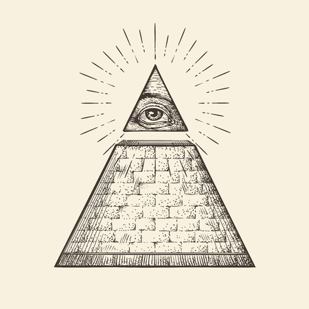 All seeing eye pyramid symbol. New World Order. Hand-drawn sketch vector