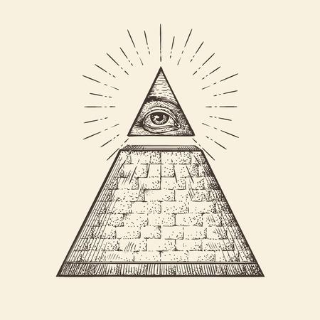 Tous les symboles de la pyramide des yeux. Nouvel ordre mondial. Croquis à dessin dessiné à la main Banque d'images - 67209567