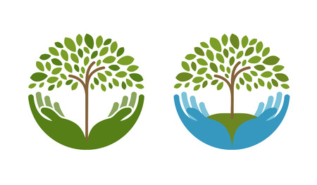 tree farming: Ecology, natural environment vector logo. Tree, gardening or farming icons isolated on white background