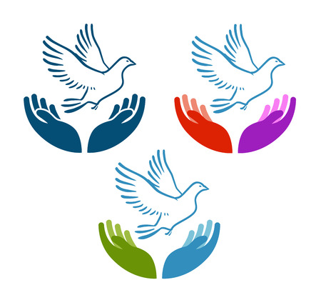 Pigeon of peace flying from open hands icon. Charity vector logo or symbol