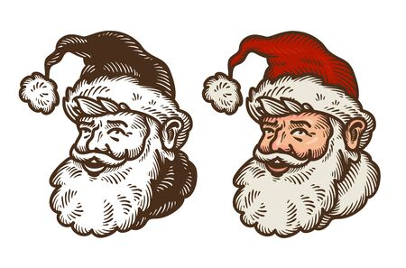 Christmas symbol. Portrait of funny Santa Claus. Cartoon vector illustration isolated on white background Illustration