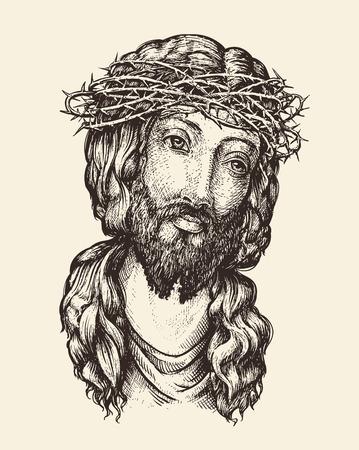crown of thorns: Portrait of Jesus Christ. Hand-drawn sketch vector illustration