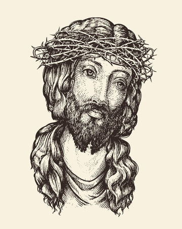 Portrait of Jesus Christ. Hand-drawn sketch vector illustration