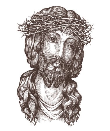 portrait of Jesus Christ isolated on white background