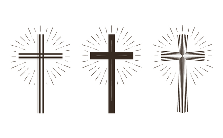 protestantism: Religion cross icon or symbol. Vector illustration isolated on white background