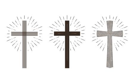 catolic: Religion cross icon or symbol. Vector illustration isolated on white background