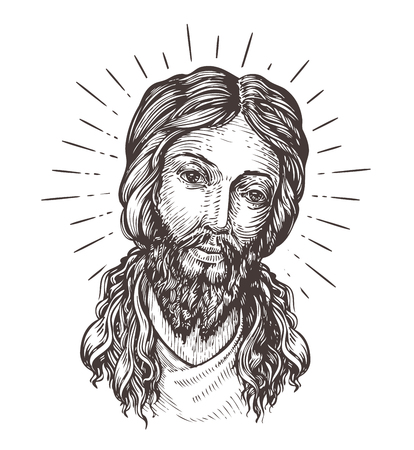 saintly: Hand-drawn portrait of Jesus Christ. Sketch vector illustration isolated on white background